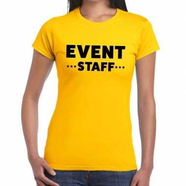 Personeel t-shirt geel met event staff bedrukking voor dames kopen