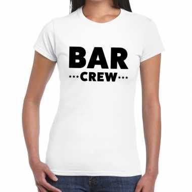 Personeel t-shirt wit met bar crew bedrukking voor dames kopen