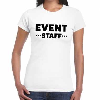 Personeel t-shirt wit met event staff bedrukking voor dames kopen