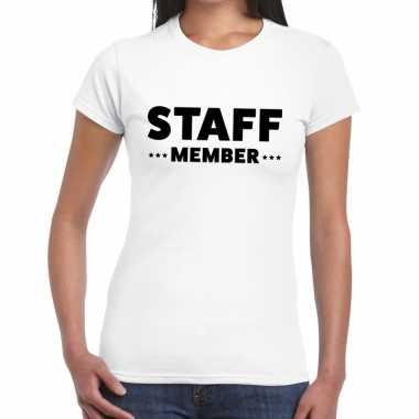 Personeel t-shirt wit met staff member bedrukking voor dames kopen