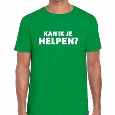 Personeel tekst t-shirt groen met kan ik je helpen bedrukking voor he