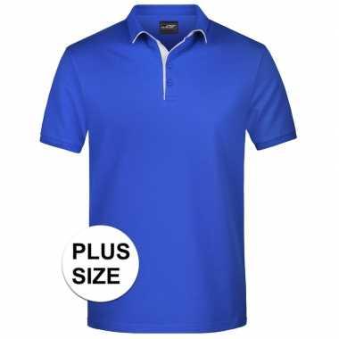 Plus size blauwe premium poloshirt golf pro voor heren kopen