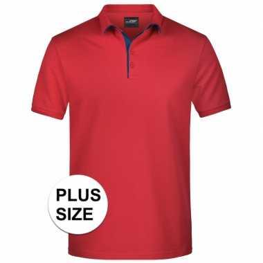 Plus size rode premium poloshirt golf pro voor heren kopen
