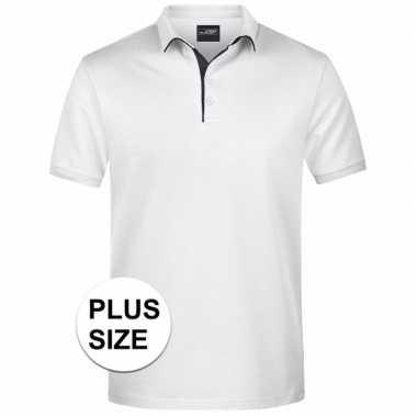 Plus size witte premium poloshirt golf pro voor heren kopen