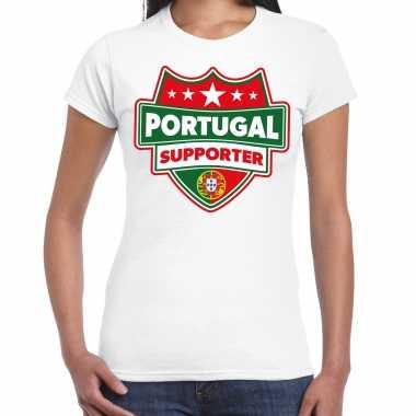 Portugal supporter t-shirt wit voor dames kopen