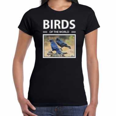 Raaf foto t-shirt zwart voor dames - birds of the world cadeau shirt raven liefhebber kopen