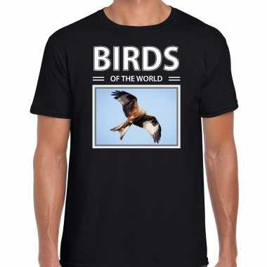 Rode wouw foto t-shirt zwart voor heren - birds of the world cadeau shirt rode wouw vogels liefhebber kopen