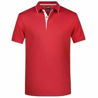 Rood/wit premium poloshirt golf pro voor heren kopen
