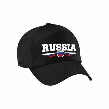Rusland / russia landen pet / baseball cap zwart voor kinderen kopen