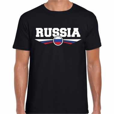 Rusland / russia landen shirt met russische vlag zwart voor heren kopen