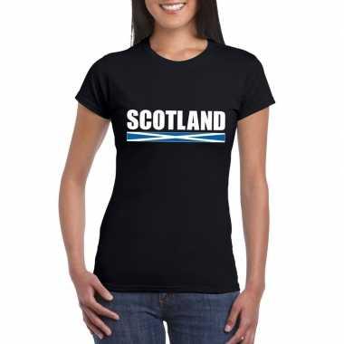 Schotse supporter t-shirt zwart voor dames kopen