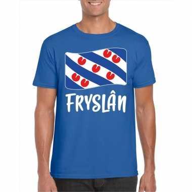 Shirt met friese vlag blauw heren kopen