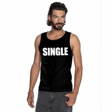 Single mouwloos shirt zwart voor heren kopen