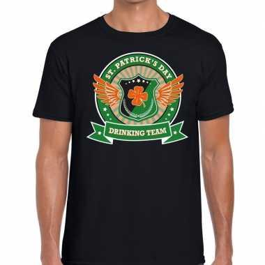 St. patrick's day drinking team t-shirt zwart heren kopen