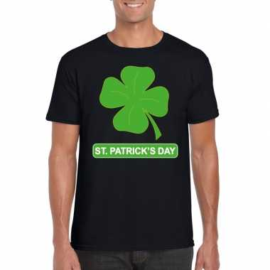 St. patricksday klavertje t-shirt zwart heren kopen