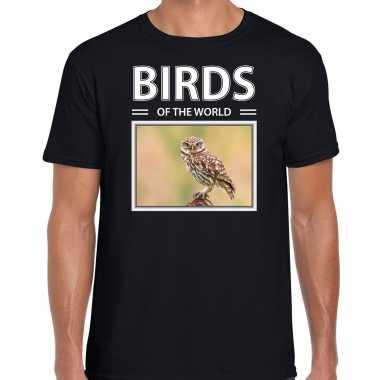 Steenuil foto t-shirt zwart voor heren - birds of the world cadeau shirt steenuilen liefhebber kopen