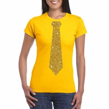 Stropdas t-shirt geel met glitter das dames kopen