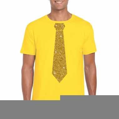 Stropdas t-shirt geel met gouden glitter das heren kopen