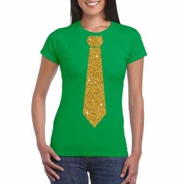 Stropdas t-shirt groen met glitter das dames kopen
