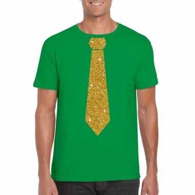 Stropdas t-shirt groen met gouden glitter das heren kopen