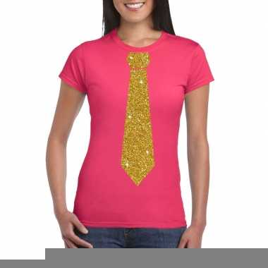 Stropdas t-shirt roze met glitter das dames kopen
