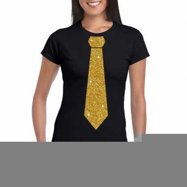 Stropdas t-shirt zwart met glitter das dames kopen