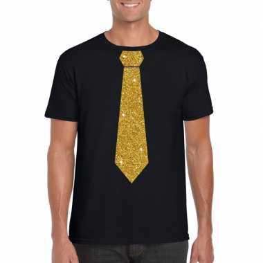 Stropdas t-shirt zwart met glitter das heren kopen