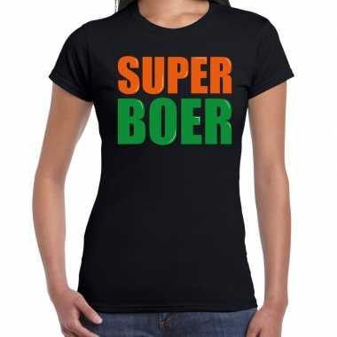 Super boer fun tekst / verjaardag t-shirt zwart voor dames kopen
