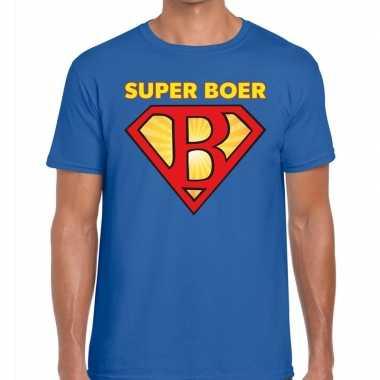 Super boer zwarte cross t-shirt blauw voor heren kopen