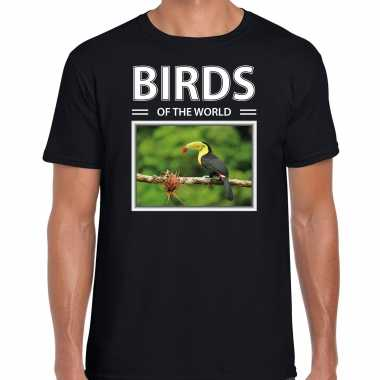 Toekan foto t-shirt zwart voor heren - birds of the world cadeau shirt toekans liefhebber kopen