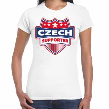 Tsjechie / czech supporter t-shirt wit voor dames kopen