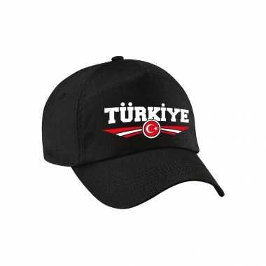 Turkije / turkiye landen pet zwart / baseball cap voor kinderen kopen