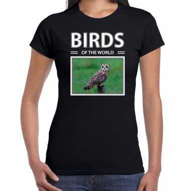 Velduil foto t-shirt zwart voor dames - birds of the world cadeau shirt velduilen liefhebber kopen