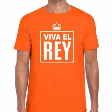 Viva el rey spaanstalig shirt oranje heren kopen