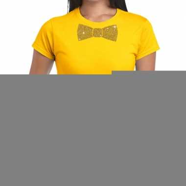 Vlinderdas t-shirt geel met glitter das dames kopen