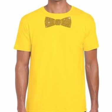 Vlinderdas t-shirt geel met glitter das heren kopen