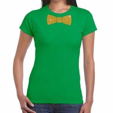 Vlinderdas t-shirt groen met glitter das dames kopen