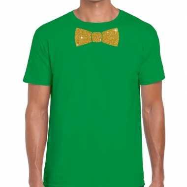 Vlinderdas t-shirt groen met glitter das heren kopen