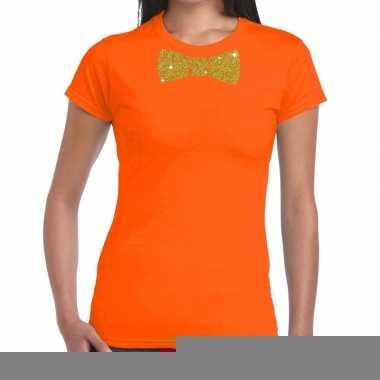 Vlinderdas t-shirt oranje met glitter das dames kopen