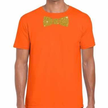 Vlinderdas t-shirt oranje met glitter das heren kopen