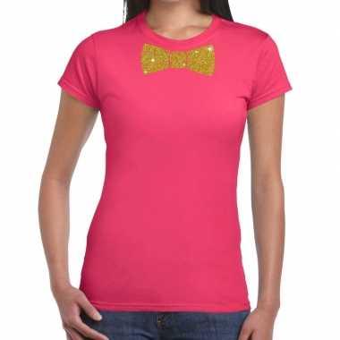 Vlinderdas t-shirt roze met glitter das dames kopen