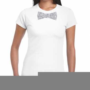 Vlinderdas t-shirt wit met zilveren glitter strikje dames kopen