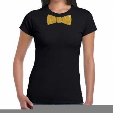Vlinderdas t-shirt zwart met glitter das dames kopen
