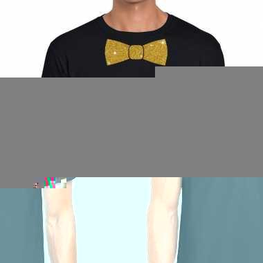 Vlinderdas t-shirt zwart met glitter das heren kopen