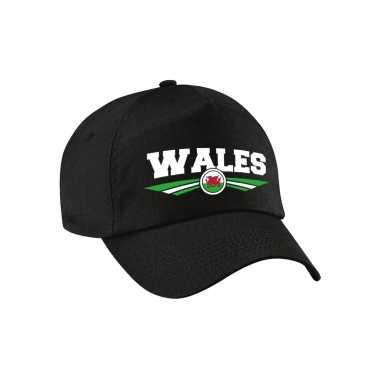 Wales landen pet / baseball cap zwart voor kinderen kopen