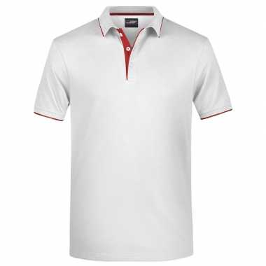 Wit/rood premium poloshirt golf pro voor heren kopen