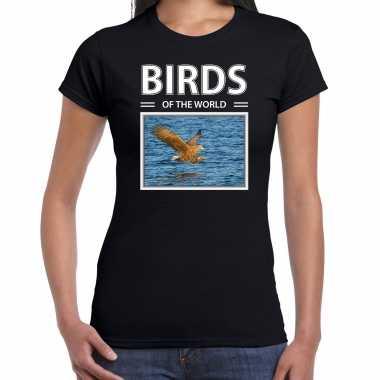 Zeearend foto t-shirt zwart voor dames - birds of the world cadeau shirt zeearenden liefhebber kopen