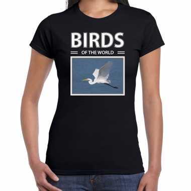 Zilverreiger foto t-shirt zwart voor dames - birds of the world cadeau shirt zilverreigers liefhebber kopen