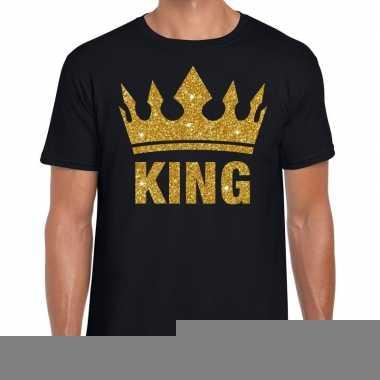 Zwart king gouden glitter kroon t-shirt heren kopen