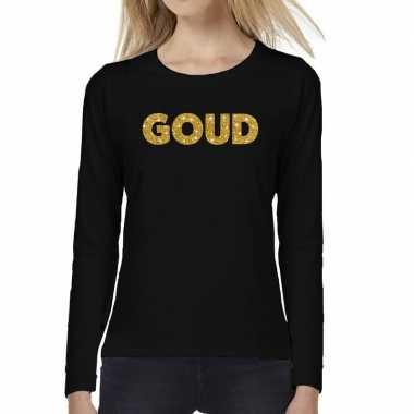 Zwart long sleeve t-shirt met goud tekst bedrukking voor dames kopen